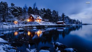 lake-winter-snow-cabin-house